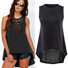 New Women Girl Plus Size Hollow Swallowtail Shirt Blouse Loose Tank Tops
