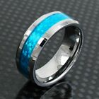 8mm Tungsten Ring Hawaiian Blue Opal Center Wedding Band Men's Jewelry