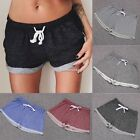 New Women Elastic Waist Mini Shorts Cotton Pure Color Loose Sports Pants N4U8