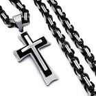 Men Silver Black 3 Layer Cross Steel Pendant With Stainless Steel Chain Necklace