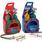 Portable Oxygen Acetylene Welding Cutting Weld Torch Kit with Tank, Red/Blue