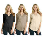 Nine West Vintage America Laelia Top Womens Embroidered Henley Shirt