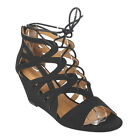 PAZZLE GD04 Women's Lace-Up Zipper Entry Strappy Wedge Sandal