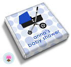 Personalised PRAM Boy/Girl Blue/Pink Baby Shower Christening Favour Chocolates
