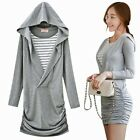 Chic Pullover Curve Loving Striped Faux Twinset Ruched Women's Hoodie Hood Dress