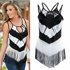 Fashion Womens Knit Tassel Sleeveless Irregular Shirt Tee T-Shirt Crop Top S-XL