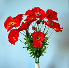 Bunch of 4 Artificial Silk Red Poppy stems