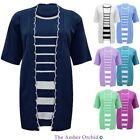 Womens Ladies Short Sleeve Cardigan Twin Knitted Stripe Lining Top Plus Sizes