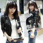 Womens Punk Zip Rivet Lapel Blazer Coat Leather Motorcycle Moto Jacket 5 Szies