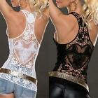 Women Sexy Back Heart Hollow Out Lace Floral Sleevess Vest Top Shirt Blouse - CB