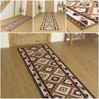 Ethnic Brown - Hallway Carpet Runner Rug Mat Long Hall Anti Non Slip Gel Back