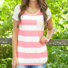 1 Pc Summer Women Striped Short Sleeve Top Tee Round Neck Casual T-shirt