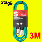 Stagg 3M XLR Coloured Male-Female Microphone Lead & Audio Signal Cable Balanced