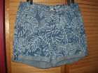 LANE BRYANT Blue Stretch Denim Palm Print Weekend Shorts Choose Size