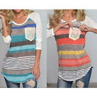 1 Pc Fashion Ladies Loose Striped Patchwork Top Tee Long Sleeve Pocket T Shirt