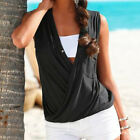 Women Sexy Solid Color Loose Fastener T-shirt Sleeveless Beach Tank Top