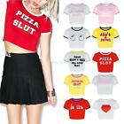 Fashion Women Summer Short Sleeve Crop Tops Letters Print Casual Blouse T-Shirt