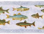Fish On Slate Blue Gray Violet Cabin Lodge Rainbow Fishing Wallpaper Wall Border