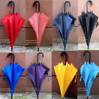Pure Long Handle Windproof Concise Women's Men's Sun Rain Umbrella 9 colors