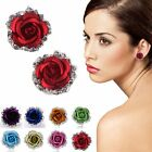 Women Crystal Rhinestone Rose Flower Ear Stud Earrings Wedding Bridesmaid Gift