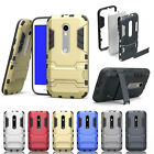 ShockProof Kickstand Armor Hybrid PC Case Guard Cover For Motorola Moto Phones