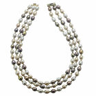 Pearls For You 14k Yellow Gold Three-strand Multi-color Freshwater Pearl Necklac