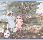 Victorian Girls Blue Garden Gazebo Swans Bridge Wall Wallpaper Border Wallcover