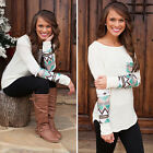 WOMEN'S SPLICING LONG SLEEVE CREW NECK POCKET CASUAL SHIRT BLOUSE LOWEST PRICE