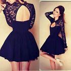 Women Lace Long Sleeve Backless Party Cocktail Club Mini Dress Big Sale