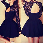 WOMEN LACE LONG SLEEVE BACKLESS PARTY COCKTAIL CLUB MINI DRESS LOWEST PRICE