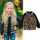 Toddler Kids Baby Girls Casual Clothes Leopard Long Sleeve Zipper Jacket Coat