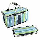 STRIPED FOLDABLE FOLDING PICINIC BASKET HAMPER BAG FOOD DRINK ZIP COVER COOLER