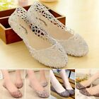 WOMEN LADIES HOLLOWF LAT BALLERINA BALLET CASUAL SOFT GLITTER JELLY PUMPS SHOES