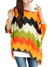 Allergra K Women Pullover Batwing Sleeve Zigzag Pattern Oversize Loose Shirt