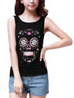 Allegra K Women Sleeveless Stretchy Skull Printed Casual Slim Tank Top