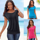 New Hot Summer Womens Short Sleeve T-Shirt Ladies Casual Loose Plain Tops Blouse