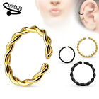 Braided Gold Black Plated Annealed Hoop Ring Nose Lip Ear  14g 16g 18g 20g #RX6