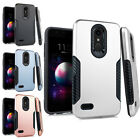 For LG Phoenix 2 Premium Brushed Metal HYBRID Rubber Case Snap Phone Cover