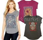 NEW WOMEN'S LUCKY BRAND CAP SLEEVE GRAPHIC TEE T-SHIRT SLIGHT HI-LOW HEM VARIETY