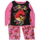 Angry Birds Little Girls Black Hot Pink Cartoon Print 2 Pc Pajama Set 4-6