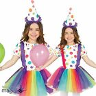 Childs Girls Spotted Halloween Circus Clown Fancy Dress Costume and Rainbow Tutu