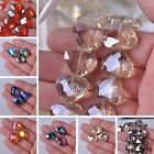 New 5/10pcs Faceted Heart Shape Crystal Glass Loose Spacer Beads Charms Jewelry