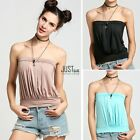 Summer Womens Plain Strapless Bandeau Boob Tube Top Tank Vest Blouse JTOO