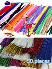50PC Kids Pipe Cleaner Sticks Craft Or Metallic color Chenille Decoration 30cm