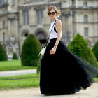 90cm Maxi Long Skirts 3 Layers Shirt Mesh Pleated Women Flared Tutu Skirts FO