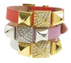NEW JUICY COUTURE Pave Pyramid Stud Leather Wrap Buckle Cuff Bracelet $48