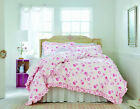 2 / 3 pc- Shabby Chic ROSES Comforter Set - Cottage Rose Pattern WHITE PINK =NEW