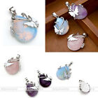 Fashon Natural Gems Silver Butterfly Alloy Wrap Stone Pendant Necklace Jewelry