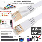 RJ45 CAT7 Network Ethernet SSTP 10Gbps Gigabit Ultra-Thin Patch Flat Cable Lot