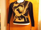 """BRAND NEW LADY'S """"DISNEY TINKERBELL"""" BLACK w  PINK & YELLOW PRINT PULLOVER"""